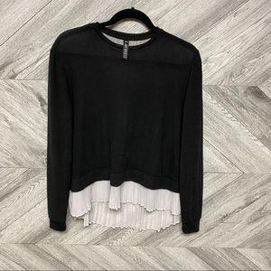 Design Lab | Black Sweater Pleated Contrast Back